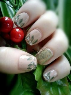Day 3: Freehand'ish Mistletoe   https://www.facebook.com/Nailingtons  #christmasnailart #nailart #christmasnails #diynailart