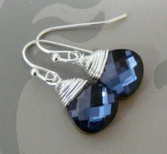 MIN Favorit Montana Blue Swarovski Crystal Briolette Silver Wrap Earrings WOW | eBay