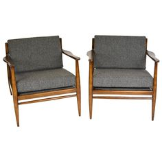 Pair of Danish Modern Walnut Lounge Chairs