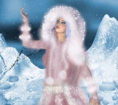 Анимация Сверкающая девушка в зимней меховой одежде подняла вверх руку