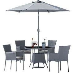 havana 4 seater rattan effect patio set grey 199