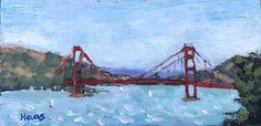 GOLDEN GATE BRIDGE,  6 x 12,  Plein Air,  Oil Painting, original art, artwork, oil, red, blue, water, seascape, san francisco, bay area, sailboats
