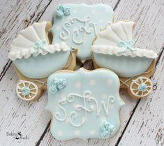 Monograma de cochecito bebé ducha las galletas por Bakinginheels