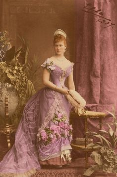 Grand Duchess Elisabeth Feodorovna (1864 – 1918) of Russia, sister of Empress Alexandra Feodorovna; married Grand Duke Sergei Alexandrovich, uncle of Nicholas II; photographed in a ball gown, 1887. #Romanov