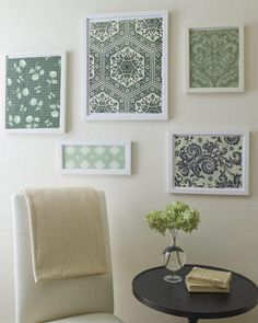 More DIY Wall Art... uses fabric or wallpaper, maybe scrapbook paper depending on the size of the frame