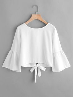 Flute Sleeve Open Back Bow Tie Blouse