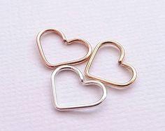 Helix Earring Open Heart Sterling Silver Gold Rose von JCLJewelry