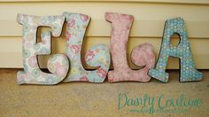 Customized Distressed Wooden Letters for girls or boys - Pinks, greens, and blues or Custom made to match your decor Decoupage Letters, Wooden Letters, Monogram Letters, Wooden Names, 1st Birthday Photos, 2nd Birthday Parties, Framed Wallpaper, Nursery Letters, Collage