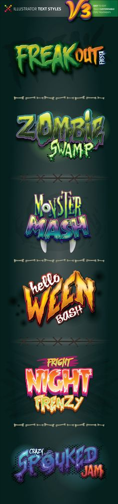 Spooky Illustrator Text Styles #vector #ai Download: http://graphicriver.net/item/spooky-illustrator-text-styles-v3/12119887?ref=ksioks