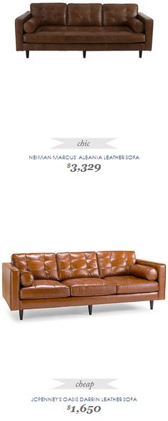 Copy Cat Chic Find | NEIMAN MARCUS' ALBANIA LEATHER SOFA vs JCPENNEY'S OASIS DARRIN LEATHER SOFA