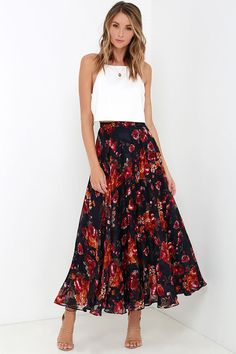 We're embracing bold prints and pretty colors with the What About Now Navy Blue Floral Print Maxi Skirt! Lightweight, navy blue woven burnout fabric has a gorgeous burnt orange, berry red, ivory, and brown floral print that descends the high, banded waist, into the ankle-grazing maxi skirt. Hidden side zipper.
