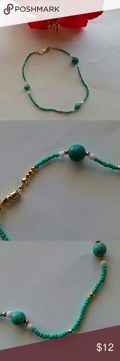 """Ankle Bracelet Not real Turquoise. Durable. I made this one  Measures 11"""" inches around. Poetry in Motion Jewelry"""