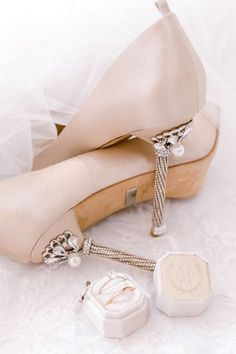 Wedding shoes ideas - nude, blush, pearl, glam, elegant, rhinestone, heels, close toe {Shalyn Smith Mckitt}