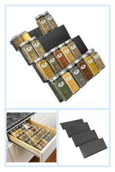 Spice Rack Tray, Spice Rack Glass, Drawer Inserts, Kitchen Cabinet Drawers, Spice Organization, Drawer Organisers, Large Drawers, Kitchen Countertops, Kitchen