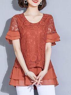 Daily Chiffon Casual Shift Guipure lace Tiered Paneled Tunics