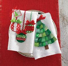 Ornamento de toalha de linho ou de Natal Árvore de toalha