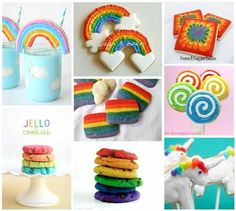 All kinds of Rainbow Sweets, Cakes, and Desserts.  ❤