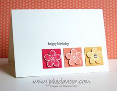 flower squar, happy birthdays, 2014 stampin up, cards with petite petal stamps, challeng, stampin up cards 2014, happi birthday, stampin up birthday cards 2014, stampin up simple cards