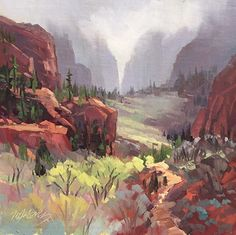 Mary Jabens - Morning Mist - Kolob Canyons- Oil - Painting entry - April 2016 | BoldBrush Painting Competition
