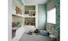 """""""This Quentin Blake wallpaper is my favorite. I grew up reading Roald Dahl and loving Quentin Blake illustrations,"""" Marissa Hermer says of her sons' bedroom wallpaper."""