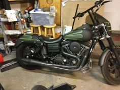 Custom painted Harley Davidson Dyna Flat Black & Gray with Lime Green Pinstripes. Paint by Smokey
