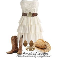 Forget everything but the dress. I like the dress. I never thought finding a dress for the after part would be so difficult! Cute Country Dresses, Robes Country, Country Style Outfits, Country Wear, Country Fashion, Country Belts, Country Casual, White Casual, Country Chic Clothing