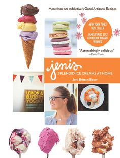 Winner of the James Beard Award, this cookbook helps you create perfect, creamy, silky smooth, firm, scoopable ice cream at home, that's full of flavor. It presents 100 of Jeni's delicious signature recipes, with no-egg ice cream base, and interesting flavor combinations.