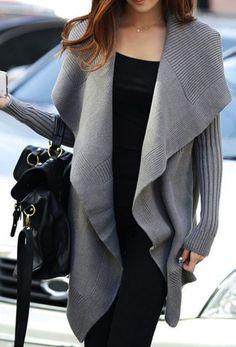 Knit shawl cardigan.
