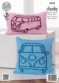 Camper Van Cushions Knitted with Big Value Chunky - King Cole