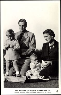 T.R.H. The Duke and Duchess of Kent with their 2 eldest children, Prince Edward (left),  and Princess Alexandra, their only daughter.