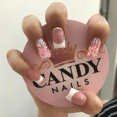 French Acrylic Nails, French Nails, Butterfly Nail Art, Super Nails, Bathroom Art, Cute Nail Designs, Nail Inspo, Nail Arts, Beauty Nails