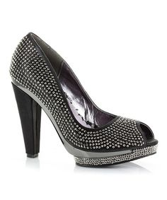 Another great find on #zulily! Black Avrill Peep-Toe Pump #zulilyfinds