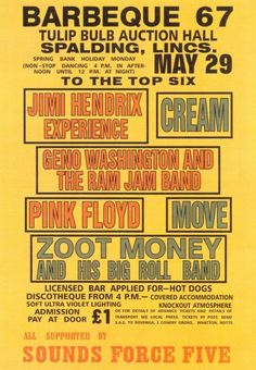 Concert Poster 1967 featuring Jimi Hendrix, Cream, Pink Floyd and more.