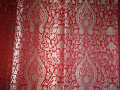 "SILK BROCADE 36""INCHES RED AND METALLIC GOLD"