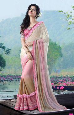 #Off-White,Pink #Chiffon #Designer #Saree #nikvik  #usa #designer #australia #canada #freeshipping #sari