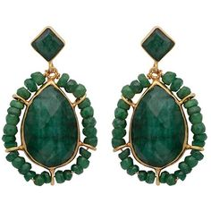 Carousel Jewels - Gold & Dyed Emerald Teardrop Earrings (1.997.515 IDR) ❤ liked on Polyvore featuring jewelry, earrings, emerald jewelry, gold tear drop earrings, hand crafted jewelry, emerald earrings and teardrop earrings