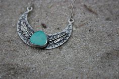 Turquoise Moon Sterling Silver and Royston by LisaChristineShop turquoise jewelry, turquoise necklace, feather jewelry, boho jewelry, dreamcatcher, bohemian jewelry