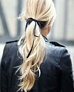 Image Via Instagram @Natulianatalie - Blonde Pony Tail With Thin Black Ribbon