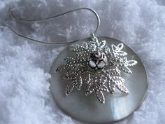 Silver Flower Mother of Pearl Shell Necklace by JetRavenBlack, $12.00