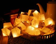 folded paper boxes and lights