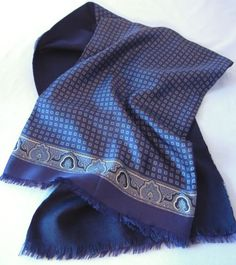 Men's Navy Blue Fringed Scarf Silk and Wool, Handmade in Italy by CandyAppleCrafts, $27.00