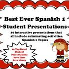 This is a zipped file that contains 20 of my best selling student presentations and activities for Spanish 1.  The presentations are all interactiv...