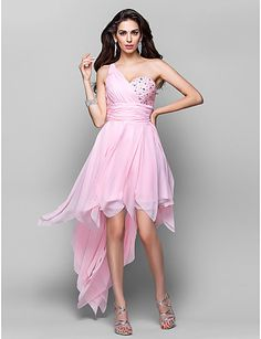 A-line One Shoulder Asymmetrical Chiffon Homecoming Dress Pink