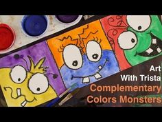 Art With Trista - Complementary Colors Monsters - Step By Step Color Art Lessons, Easy Art Lessons, Art Lessons Elementary, Art Room Posters, Third Grade Art, Kindergarten Art Projects, Learn Art, Autumn Art, Art Plastique