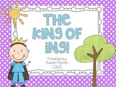 "The King of ING! {a freebie} The King of ING! {{Freebie}} Kindergarten, First, Second, ESL. This freebie includes a few activities to learn about the ""ing"" spelling pattern. Kindergarten Literacy, Alphabet Activities, Reading Activities, Ing Words, Teaching Reading, Teaching Ideas, Guided Reading, Student Teaching, Educational Activities"