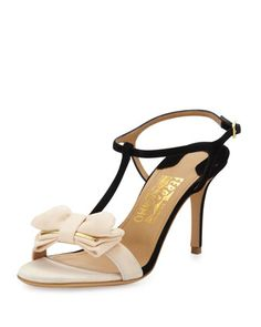 Pavi Suede Bow Sandal, Black by Salvatore Ferragamo at Neiman Marcus.