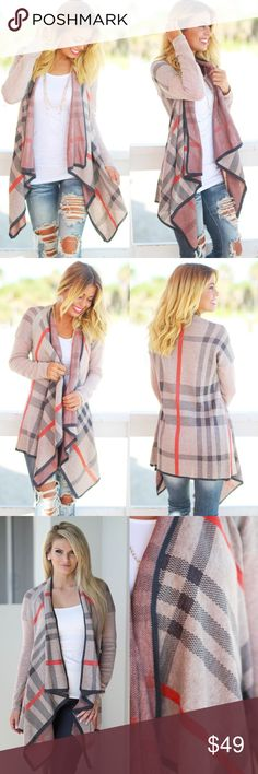NOLA plaid open front cardigan - TAN Plaid print, draped neck, open front, asymmetric cardigan. 100% acrylic. AVAILABLE IN TAN & GREY MIX NO TRADE, PRICE FIRM Bellanblue Sweaters Cardigans