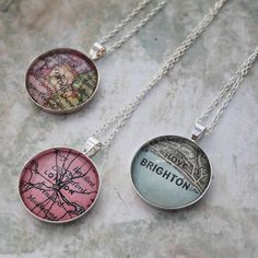 personalised vintage map necklace by posh totty designs boutique | notonthehighstreet.com