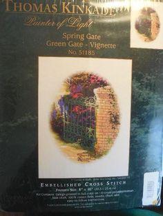 THOMAS KINKADE SPRING GATE Green Gate-Vignette Embellished Cross Stitch KIT #CandamarDesigns