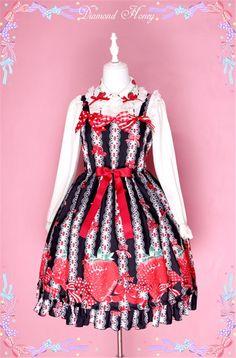 Diamond Honey -Sweet Summer Lolita JSK with Strawberry Pattern